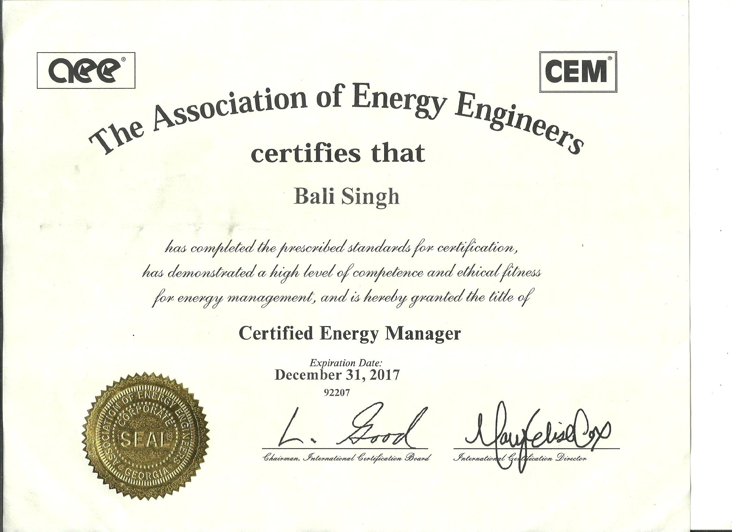 Certified Energy Manager (CEM 92207)- Association of Energy Engineers- Govt of USA (International Ce
